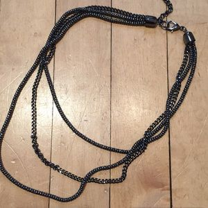 Charcoal Silver Layered Necklace